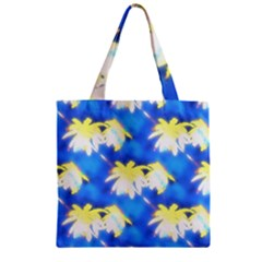 Palm Trees Bright Blue Green Zipper Grocery Tote Bag by CrypticFragmentsColors