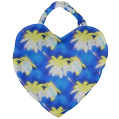 Palm Trees Bright Blue Green Giant Heart Shaped Tote by CrypticFragmentsColors