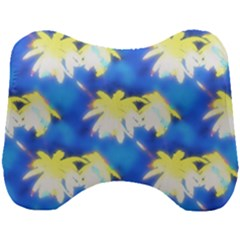 Palm Trees Bright Blue Green Head Support Cushion by CrypticFragmentsColors