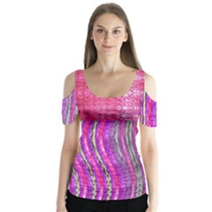 Pink And Purple Shimmer Design By Flipstylez Designs Butterfly Sleeve Cutout Tee