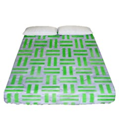 Woven1 White Marble & Green Watercolor (r) Fitted Sheet (queen Size) by trendistuff