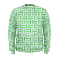 Woven1 White Marble & Green Watercolor (r) Men s Sweatshirt