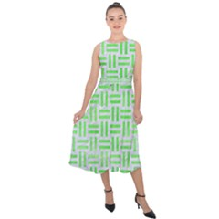Woven1 White Marble & Green Watercolor (r) Midi Tie Back Chiffon Dress