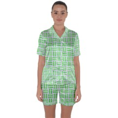 Woven1 White Marble & Green Watercolor (r) Satin Short Sleeve Pyjamas Set by trendistuff