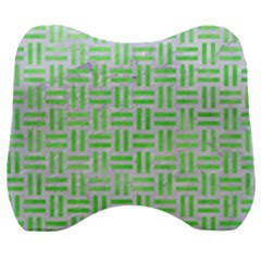 Woven1 White Marble & Green Watercolor (r) Velour Head Support Cushion by trendistuff