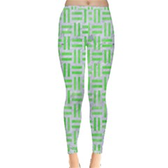 Woven1 White Marble & Green Watercolor (r) Inside Out Leggings by trendistuff