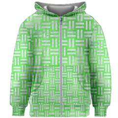 Woven1 White Marble & Green Watercolor Kids Zipper Hoodie Without Drawstring