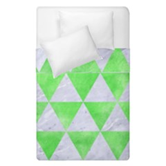 Triangle3 White Marble & Green Watercolor Duvet Cover Double Side (single Size)