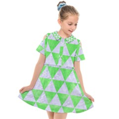 Triangle3 White Marble & Green Watercolor Kids  Short Sleeve Shirt Dress