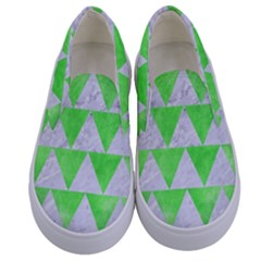Triangle2 White Marble & Green Watercolor Kids  Canvas Slip Ons