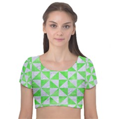 Triangle1 White Marble & Green Watercolor Velvet Short Sleeve Crop Top
