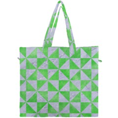 Triangle1 White Marble & Green Watercolor Canvas Travel Bag by trendistuff