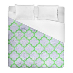 Tile1 (r) White Marble & Green Watercolor Duvet Cover (full/ Double Size) by trendistuff