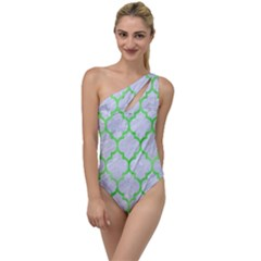 Tile1 (r) White Marble & Green Watercolor To One Side Swimsuit