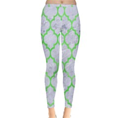 Tile1 (r) White Marble & Green Watercolor Inside Out Leggings