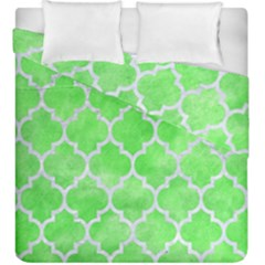 Tile1 White Marble & Green Watercolor Duvet Cover Double Side (king Size) by trendistuff