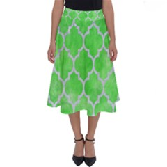 Tile1 White Marble & Green Watercolor Perfect Length Midi Skirt