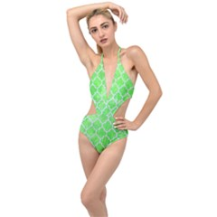 Tile1 White Marble & Green Watercolor Plunging Cut Out Swimsuit