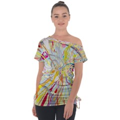 3230 Drawing Multicolored Light 3840x2400 Off Shoulder Tie Up Tee