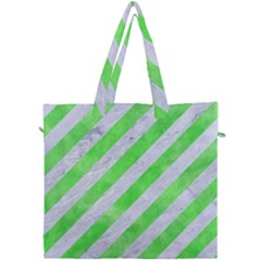 Stripes3 White Marble & Green Watercolor (r) Canvas Travel Bag by trendistuff