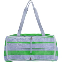 Stripes2 White Marble & Green Watercolor Multi Function Bag