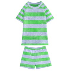 Stripes2 White Marble & Green Watercolor Kids  Swim Tee And Shorts Set