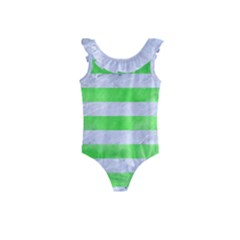 Stripes2 White Marble & Green Watercolor Kids  Frill Swimsuit
