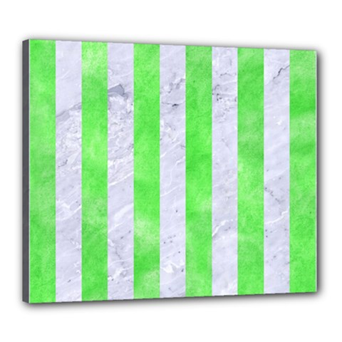 Stripes1 White Marble & Green Watercolor Canvas 24  X 20