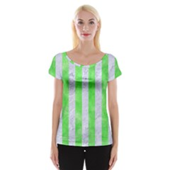 Stripes1 White Marble & Green Watercolor Cap Sleeve Tops