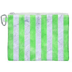 Stripes1 White Marble & Green Watercolor Canvas Cosmetic Bag (xxl) by trendistuff