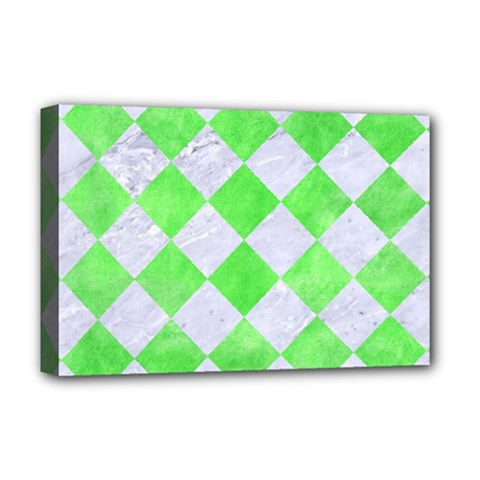 Square2 White Marble & Green Watercolor Deluxe Canvas 18  X 12   by trendistuff