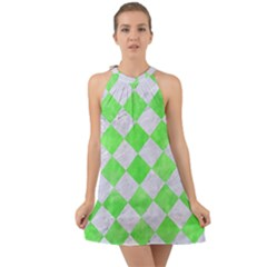 Square2 White Marble & Green Watercolor Halter Tie Back Chiffon Dress