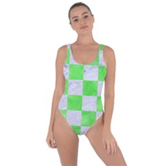Square1 White Marble & Green Watercolor Bring Sexy Back Swimsuit