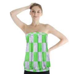 Square1 White Marble & Green Watercolor Strapless Top
