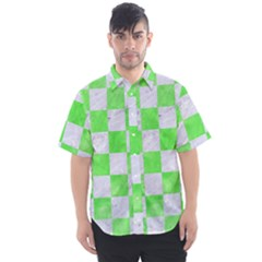 Square1 White Marble & Green Watercolor Men s Short Sleeve Shirt