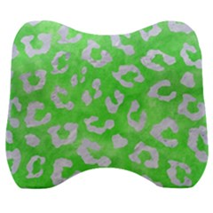Skin5 White Marble & Green Watercolor (r) Velour Head Support Cushion by trendistuff