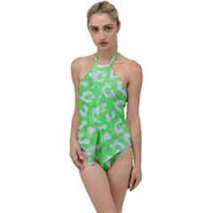 Skin5 White Marble & Green Watercolor (r) Go With The Flow One Piece Swimsuit