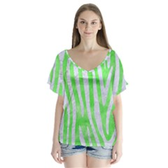 Skin4 White Marble & Green Watercolor (r) V Neck Flutter Sleeve Top by trendistuff