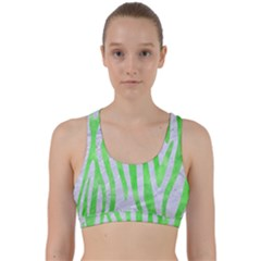 Skin4 White Marble & Green Watercolor Back Weave Sports Bra