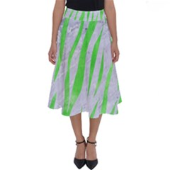 Skin3 White Marble & Green Watercolor (r) Perfect Length Midi Skirt