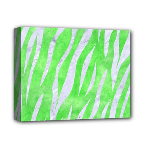 Skin3 White Marble & Green Watercolor Deluxe Canvas 14  X 11  by trendistuff