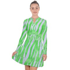 Skin3 White Marble & Green Watercolor Long Sleeve Panel Dress