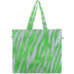 Skin3 White Marble & Green Watercolor Canvas Travel Bag