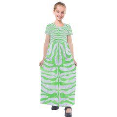 Skin2 White Marble & Green Watercolor (r) Kids  Short Sleeve Maxi Dress by trendistuff