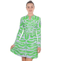Skin2 White Marble & Green Watercolor Long Sleeve Panel Dress