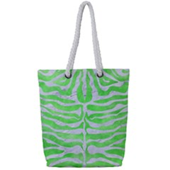Skin2 White Marble & Green Watercolor Full Print Rope Handle Tote (small)