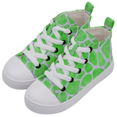 Skin1 White Marble & Green Watercolor (r) Kid s Mid Top Canvas Sneakers by trendistuff