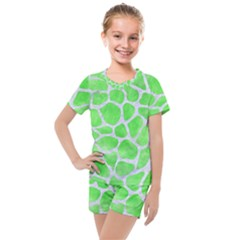 Skin1 White Marble & Green Watercolor (r) Kids  Mesh Tee And Shorts Set