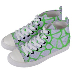 Skin1 White Marble & Green Watercolor Women s Mid Top Canvas Sneakers by trendistuff