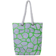 Skin1 White Marble & Green Watercolor Full Print Rope Handle Tote (small) by trendistuff